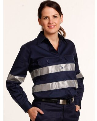 AIW Workwear Womens Cotton Drill Work Shirt With 3M Tapes