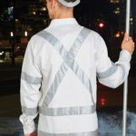 AIW Workwear Mens White Safety Shirt With X Back Biomotion Tape Configuration